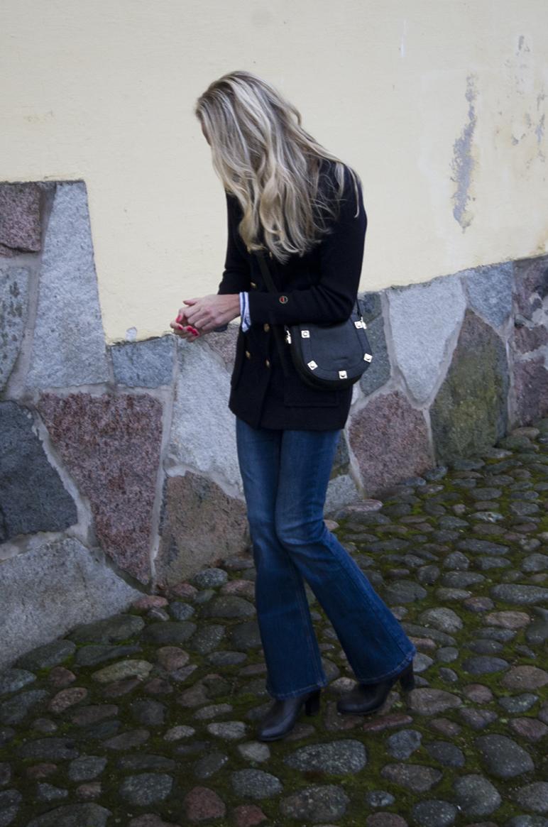 Busnel neulejakku, See by Chloé käsilaukku, Bik Bok Flare-housut | www.stillme.fi
